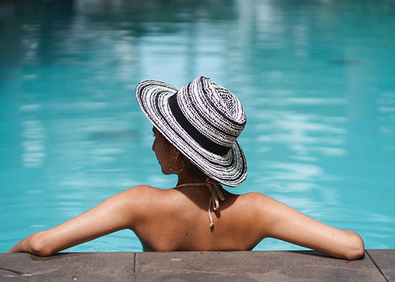 Slim woman at the pool